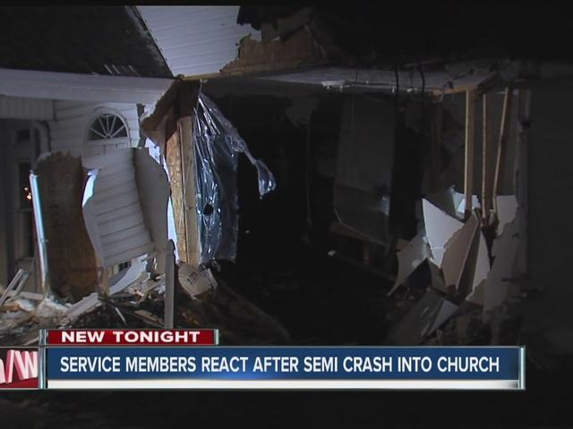Semi drives through church in Delaware County