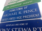 Columbus, Pence's hometown, erects road sign