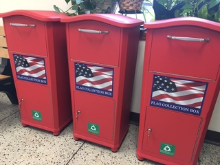 Bins to help with proper American flag disposal