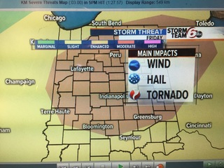 Warm next 2 days. Severe storm risk Friday.