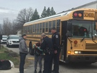 Stolen vehicle crashes into school bus