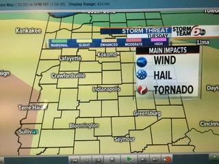 Slight Risk Severe storms Tuesdsay