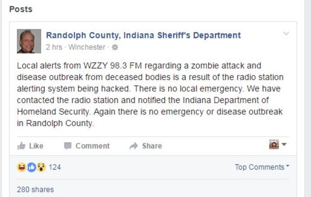 Hacked radio station reports zombie attack and disease