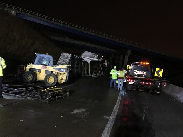 Semi rolls over near North Split