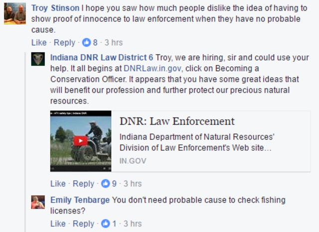 indiana dnr officers fishing license photos stir up angry