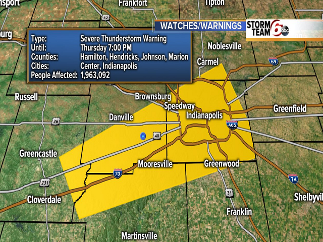 Severe Thunderstorm Warning for Central Indiana