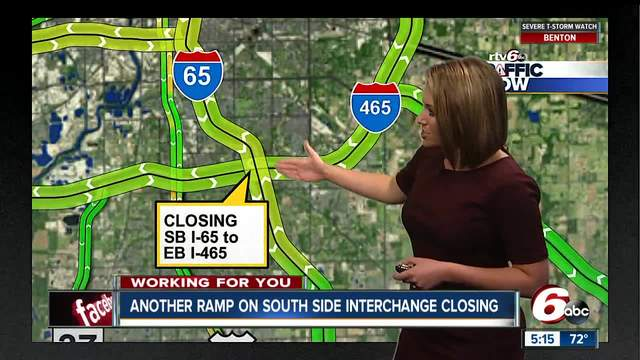 TRAFFIC ALERT: I-465 ramp closures scheduled for the next several weeks