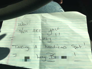 Woman in handicapped spot finds insulting note