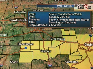 Severe T'storm watch across southern Indiana
