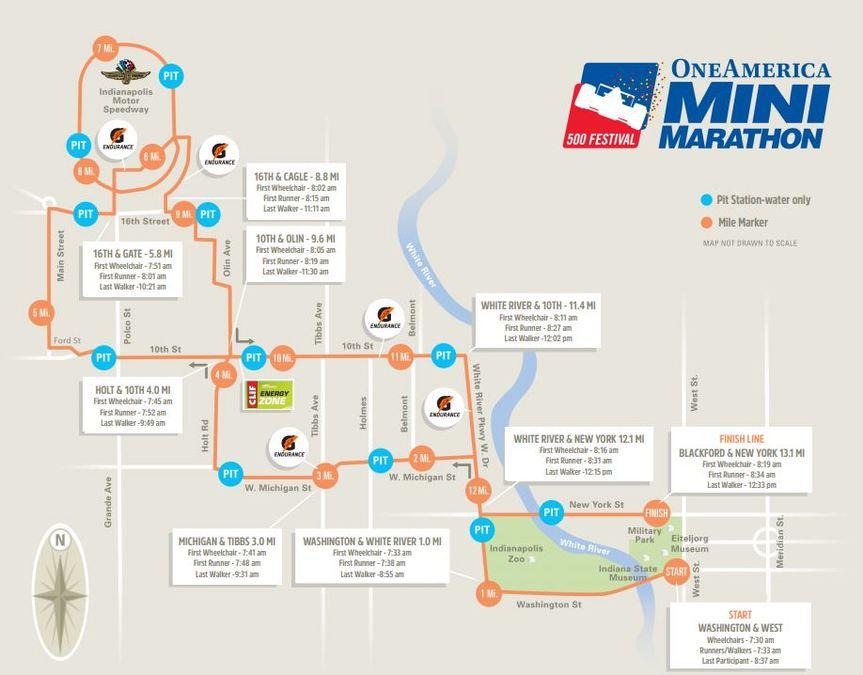 Map Of New York Marathon 2017.Map Road Closures For 500 Festival Mini Marathon