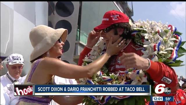 IndyCar drivers Scott Dixon- Dario Franchitti robbed at Indy Taco Bell