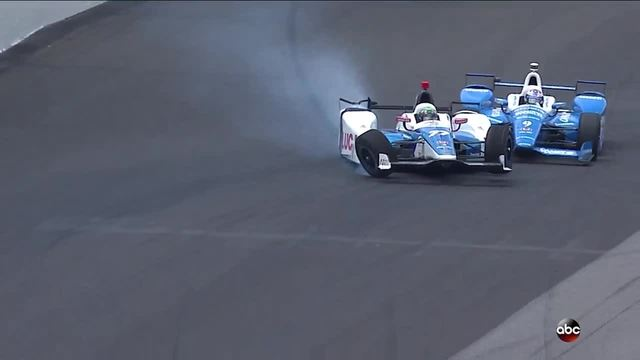 Jay Howard and Scott Dixon crash in turn 2 of the Indianapolis 500