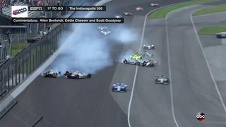 Multi-car crash in Turn 4 late in the Indy 500