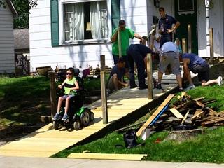 Firefighters repair 9-year-old's wheelchair ramp