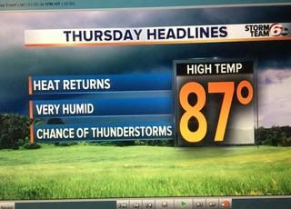 Warmer pattern. T'Storms return.