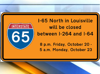 I-65N in Louisville to be closed this weekend