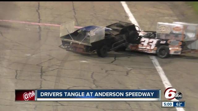 Race car drivers fight after crash at Anderson Speedway