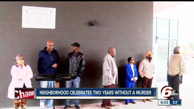 Indianapolis neighborhood celebrates 2 years with no homicides