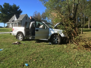Suspect hits telephone poles during chase