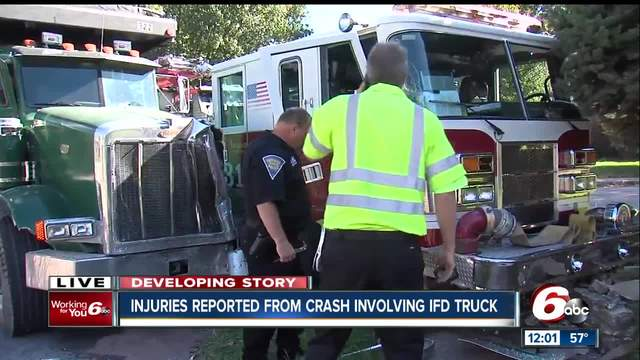 3 firefighters slightly hurt when dump truck collides with fire engine