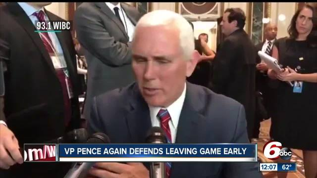 Vice President Mike Pence defends his decision to leave Indianapolis…