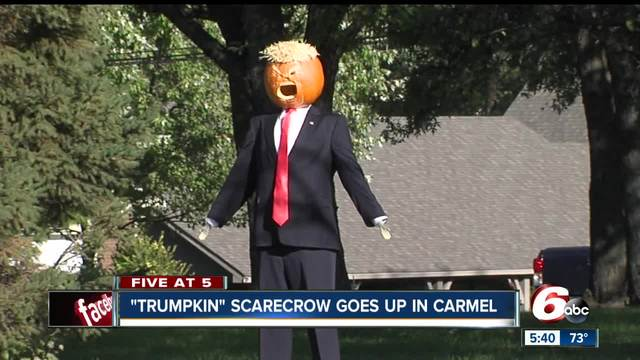 Trumpkin scarecrow becomes attraction at Carmel home