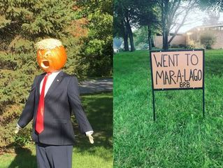 'Trumpkin' scarecrow in Carmel takes vacation