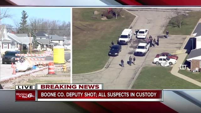 IN deputy shot; three people in custody
