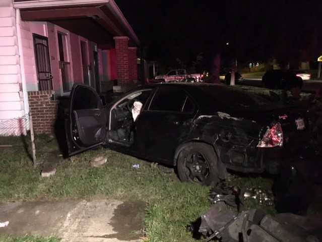 Stolen car crashes into home after police chase