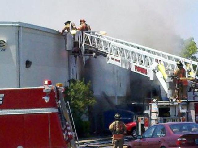 Firefighters Battle Blaze At Fishers Warehouse