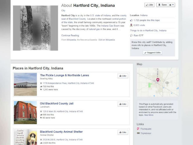Hartford City Indiana Map.Fake Hartford City Facebook Page Shows Lynching Theindychannel Com