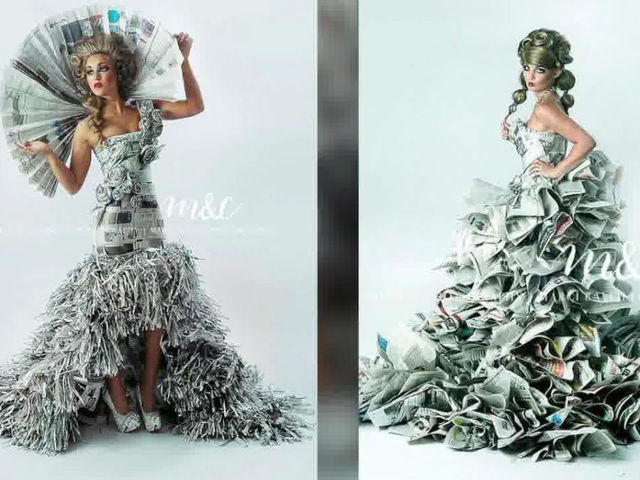 High-fashion gowns made from newspapers put Camby duo on front page ...