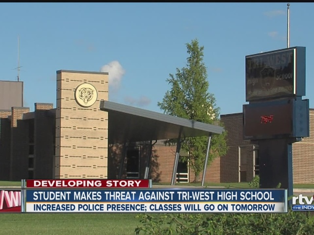 School resumes at tri west high school despite threat for Resumes today indianapolis
