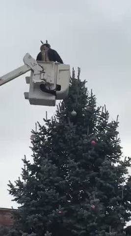 the knightstown town council determined it would not win a lawsuit by the aclu over the cross on top of the town christmas tree so they took it down - Cross Christmas Tree