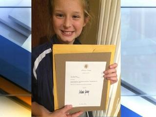Mooresville girl gets letter from White House