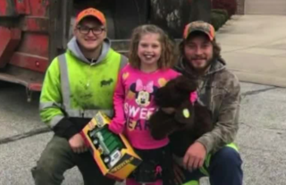 Trash men surprise girl with birthday gifts