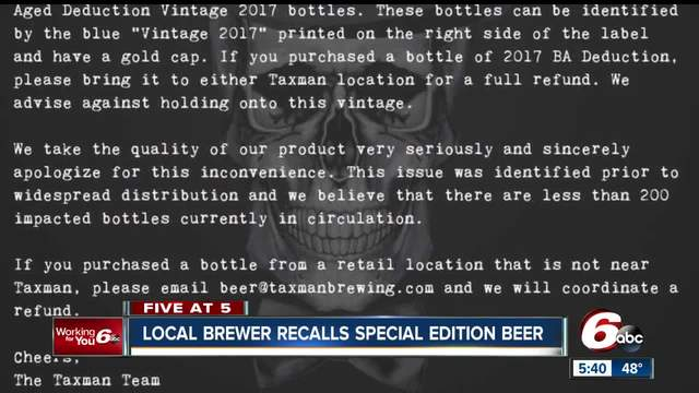 Taxman Brewing recalling new beer due to bottling issue