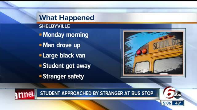 Stranger approaches student at bus stop in Shelbyville