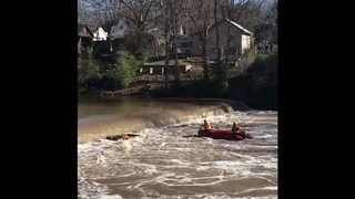 VIDEO: Man rescued from overturned boat at dam