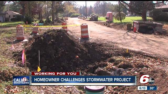 Homeowner challenges storm water project on Indianapolis- east side