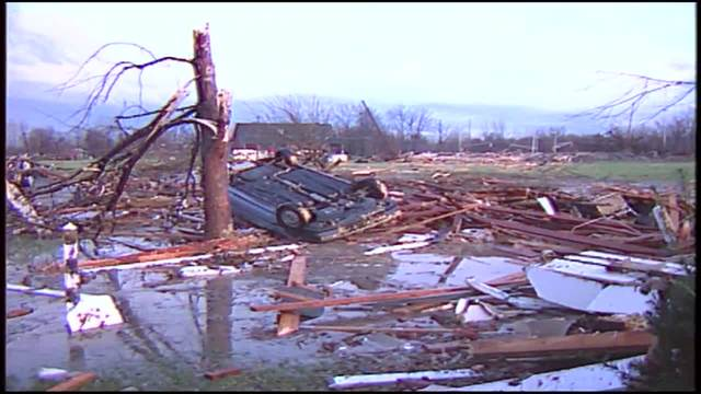 Reaction to damage from 1992 Indiana tornadoes