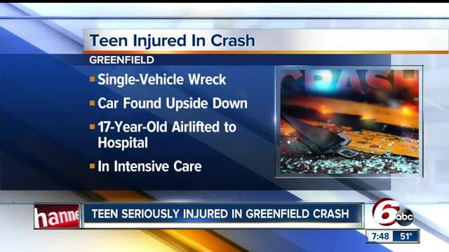 Teen injured in single-vehicle crash in Greenfield