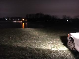 Elderly man drives into freezing retention pond