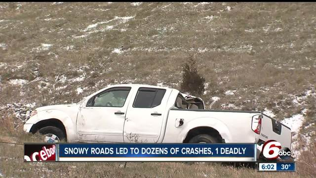 Slick roads cause dozens of accidents across central Indiana