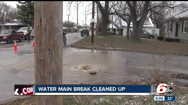 Service restored after a water main break on Indianapolis- southeast side