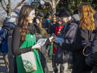 Get a free Starbucks card on Monument Circle