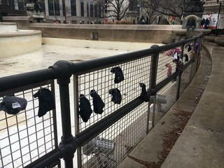 PICS: Scarves, hats left for Indy homeless