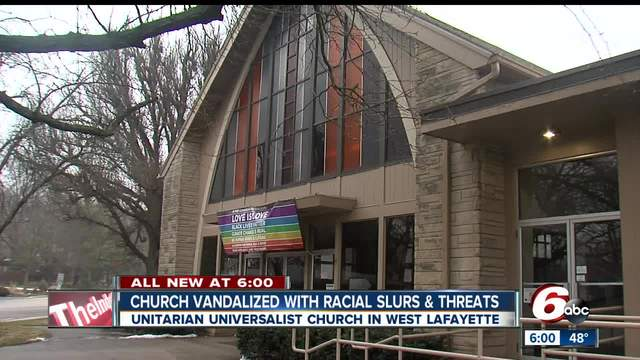 West Lafayette church vandalized with racial slurs- threats of violence…