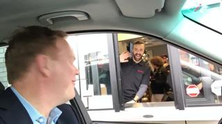 WATCH: Hinchcliffe works Tim Hortons drive-thru