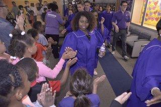 High school seniors visit elementary schools
